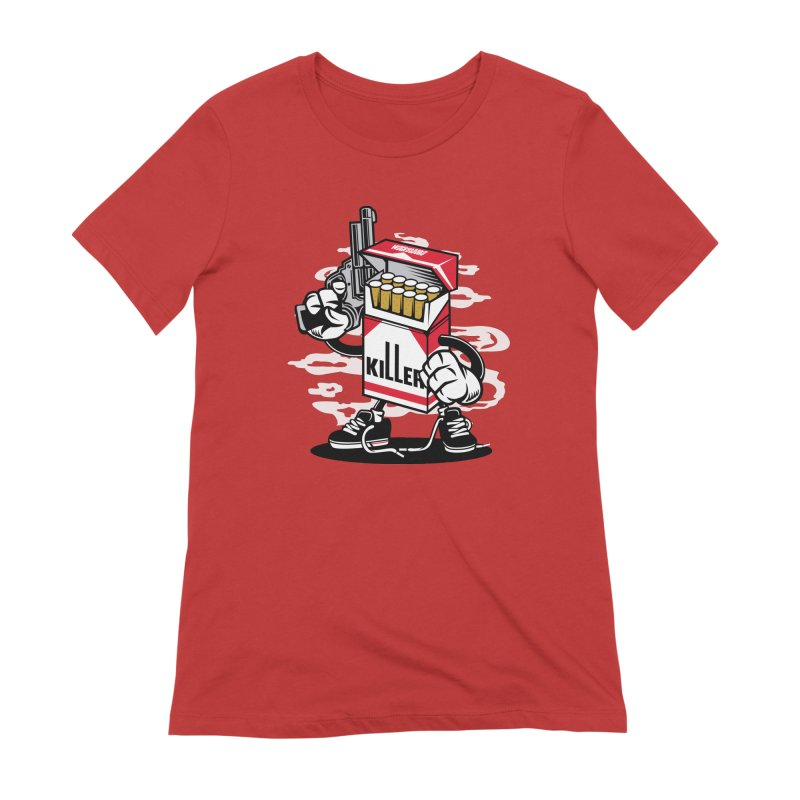 Lung Killer in Women's Extra Soft T-Shirt Red by WackyToonz