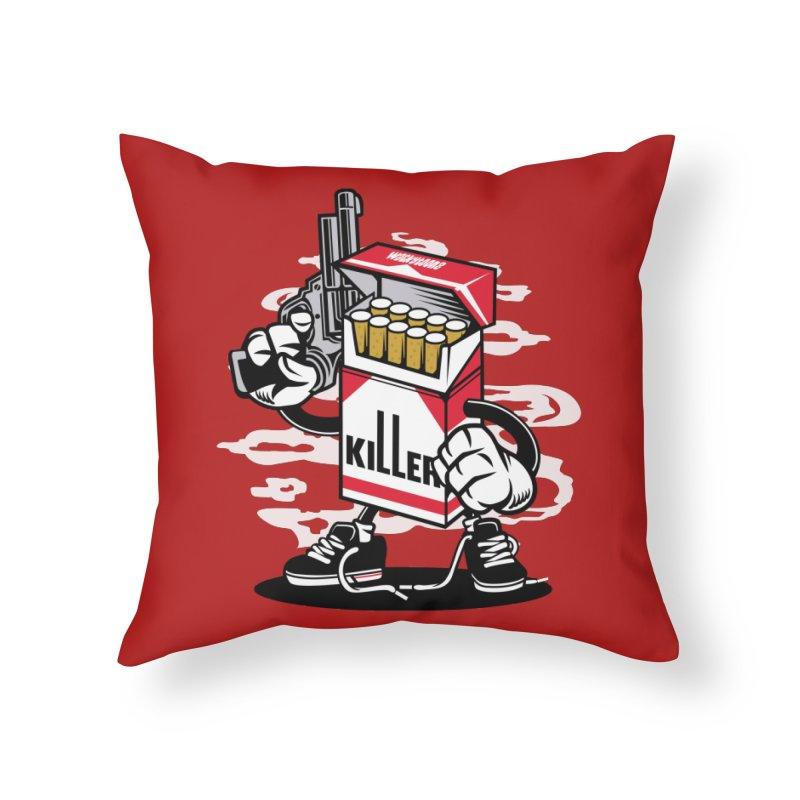 Lung Killer Home Throw Pillow by WackyToonz