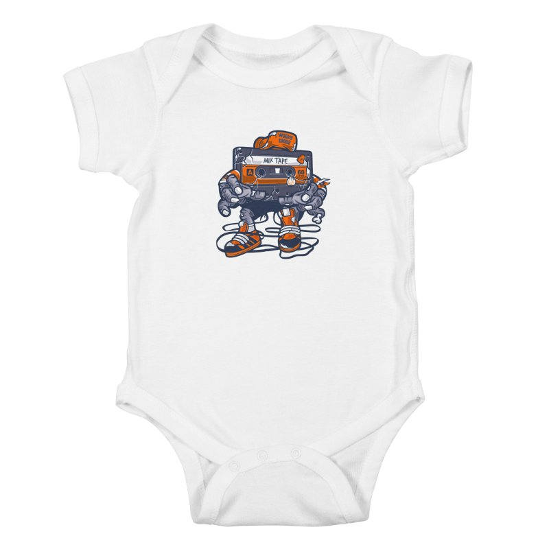 Mix Tape Zombie Kids Baby Bodysuit by WackyToonz
