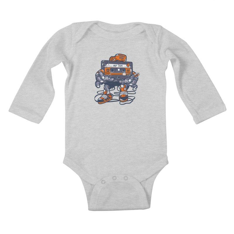 Mix Tape Zombie Kids Baby Longsleeve Bodysuit by WackyToonz