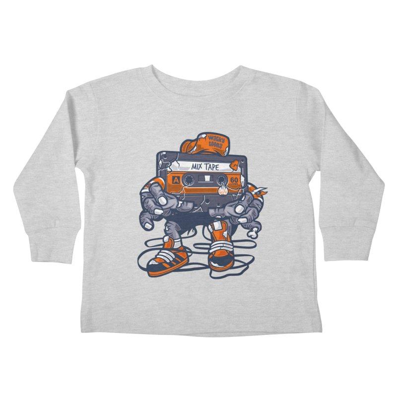 Mix Tape Zombie Kids Toddler Longsleeve T-Shirt by WackyToonz