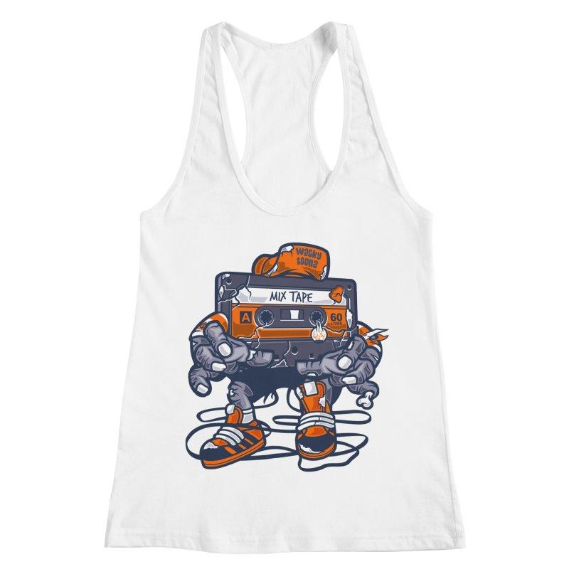 Mix Tape Zombie Women's Racerback Tank by WackyToonz