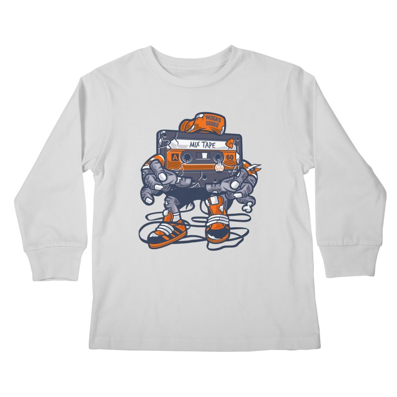 Mix Tape Zombie Kids Longsleeve T-Shirt by WackyToonz