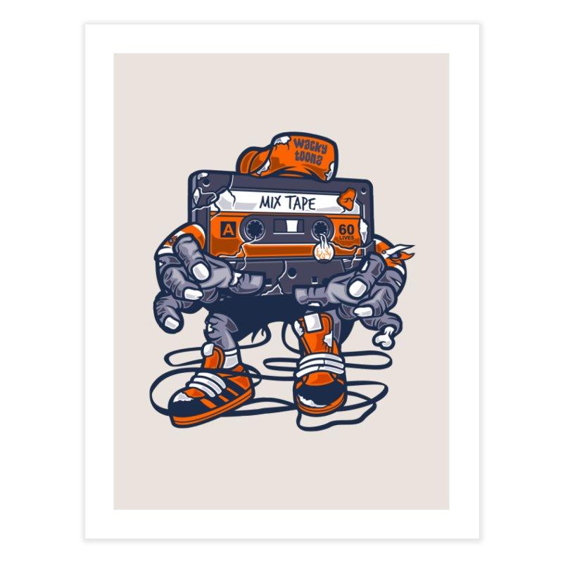 Mix Tape Zombie Home Fine Art Print by WackyToonz
