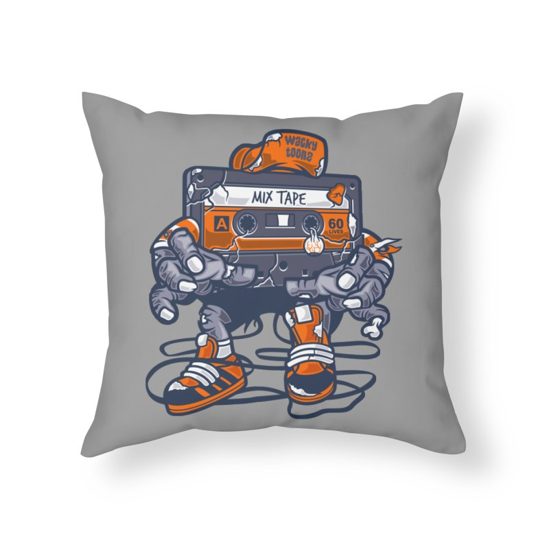 Mix Tape Zombie Home Throw Pillow by WackyToonz
