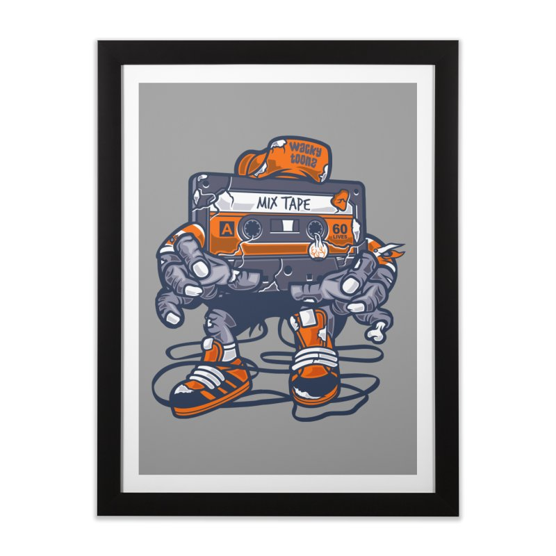 Mix Tape Zombie Home Framed Fine Art Print by WackyToonz
