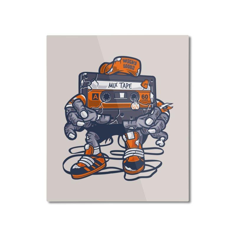 Mix Tape Zombie Home Decor Mounted Aluminum Print by WackyToonz