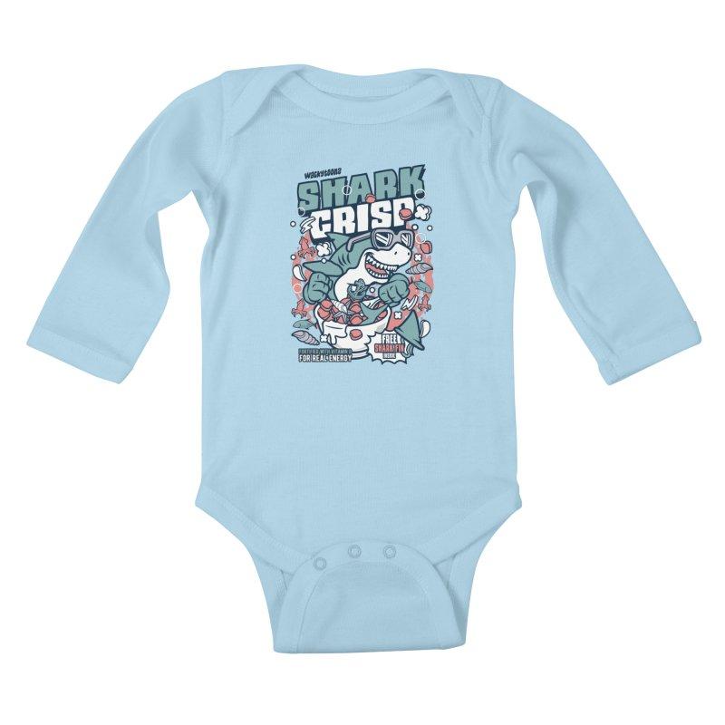 Shark Crisp Cereal Kids Baby Longsleeve Bodysuit by WackyToonz