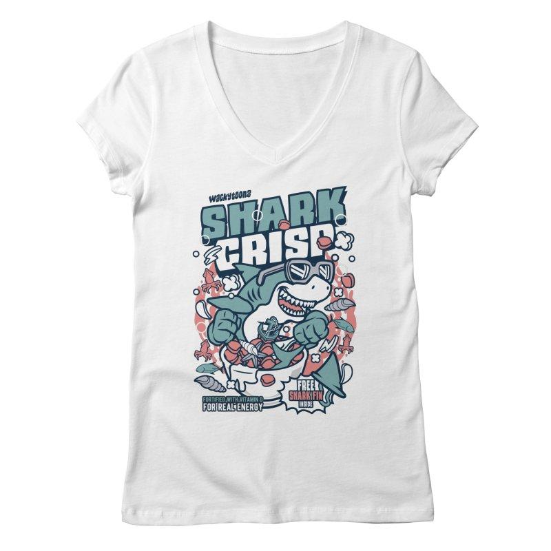Shark Crisp Cereal Women's Regular V-Neck by WackyToonz