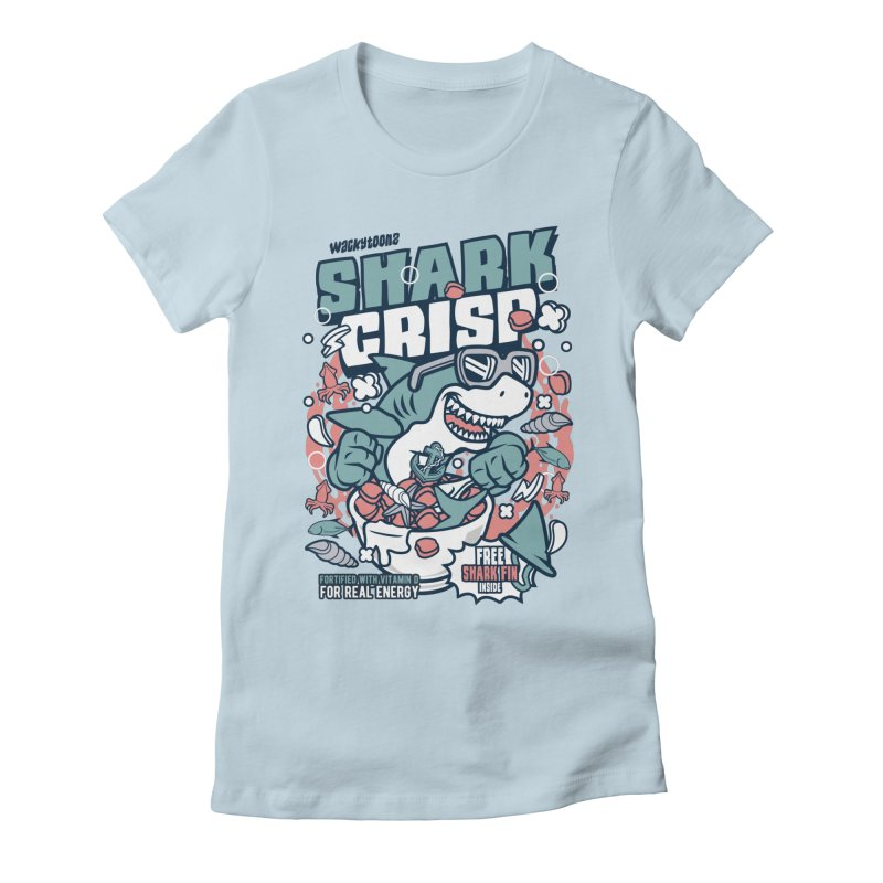 Shark Crisp Cereal Women's Fitted T-Shirt by WackyToonz