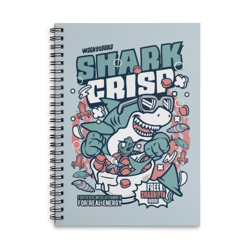 Shark Crisp Cereal Accessories Lined Spiral Notebook by WackyToonz