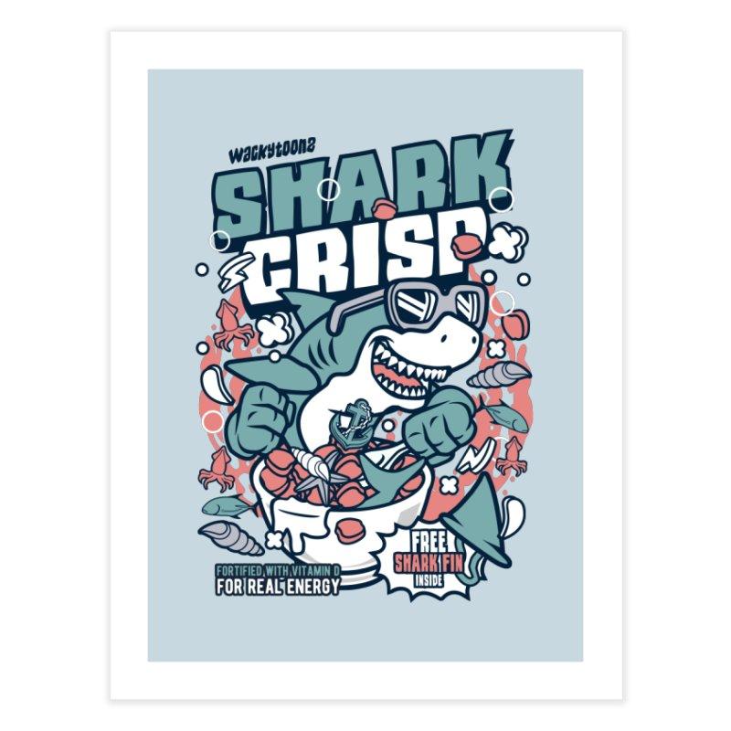 Shark Crisp Cereal Home Fine Art Print by WackyToonz