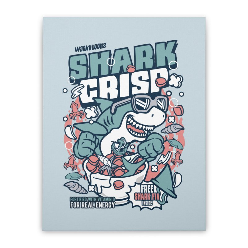Shark Crisp Cereal Home Stretched Canvas by WackyToonz