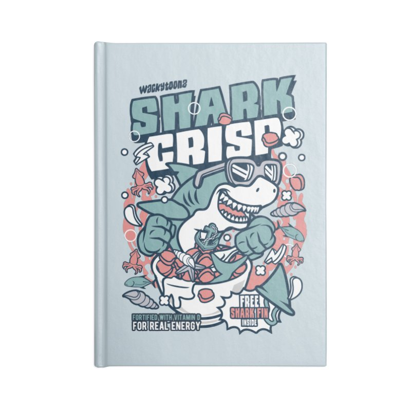 Shark Crisp Cereal Accessories Blank Journal Notebook by WackyToonz