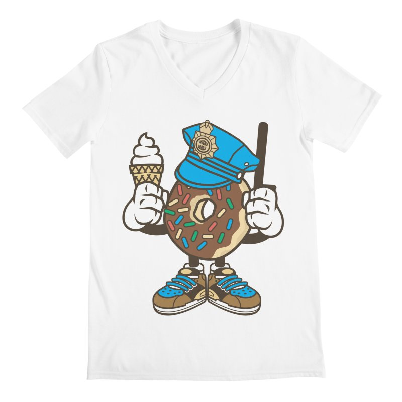 Donut Cop Men's V-Neck by WackyToonz