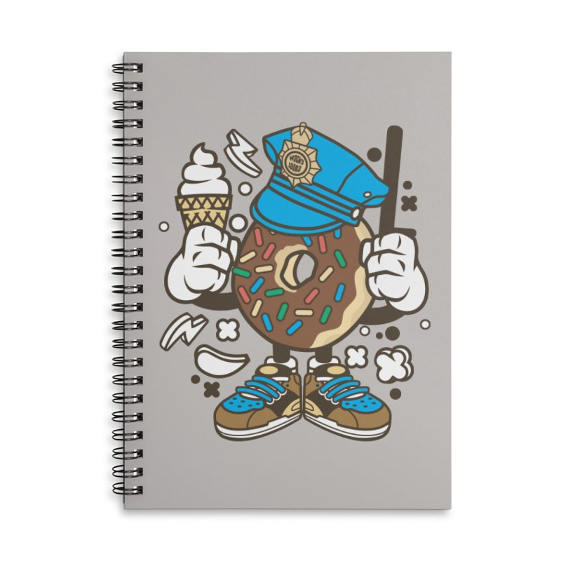 Donut Cop Accessories Lined Spiral Notebook by WackyToonz