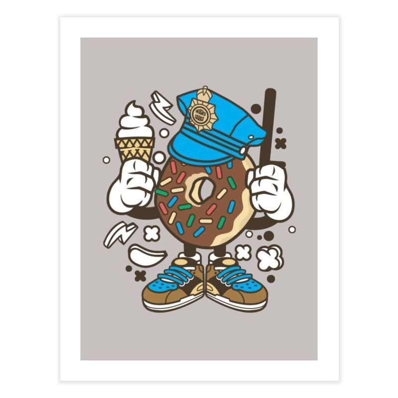 Donut Cop Home Fine Art Print by WackyToonz