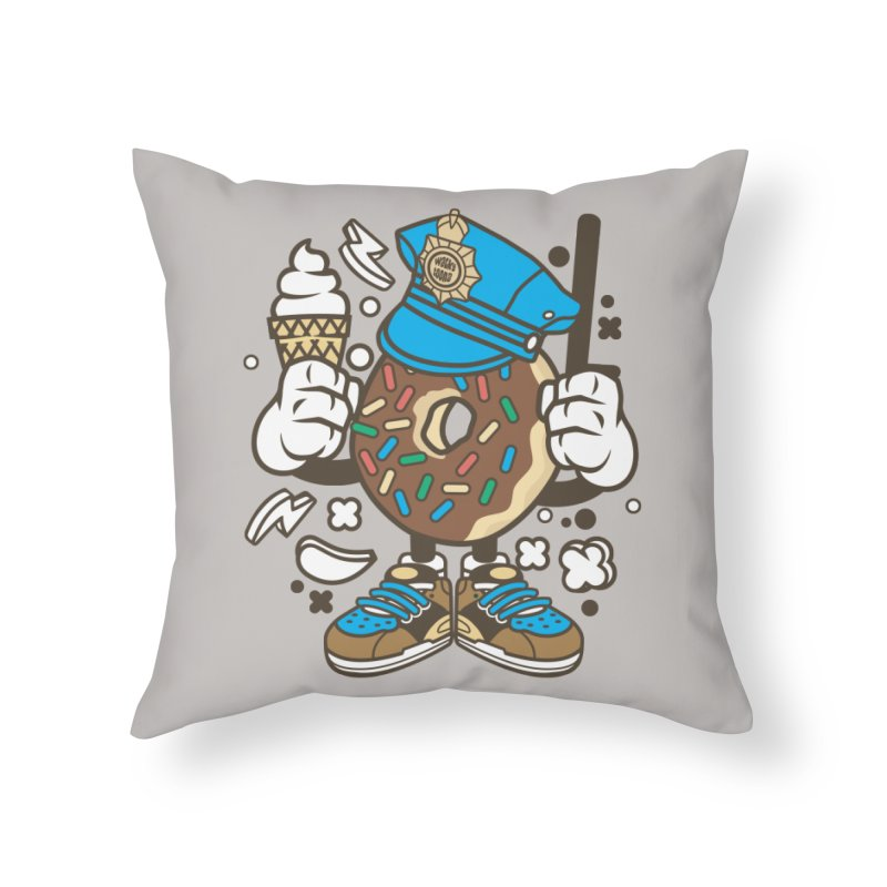 Donut Cop Home Throw Pillow by WackyToonz