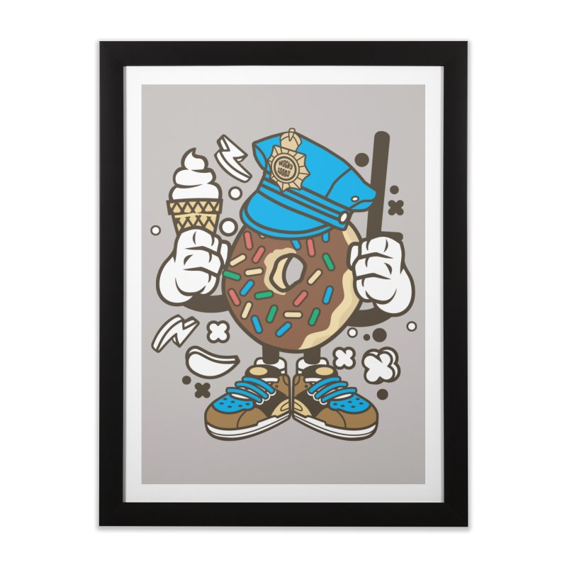 Donut Cop Home Framed Fine Art Print by WackyToonz