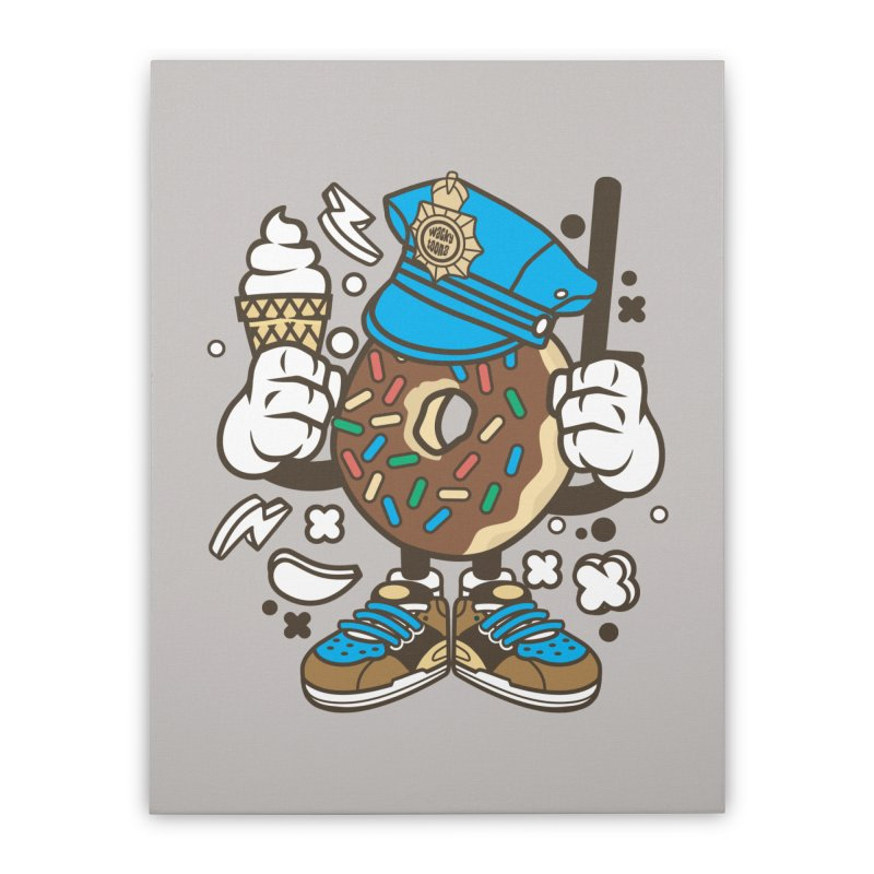 Donut Cop Home Stretched Canvas by WackyToonz