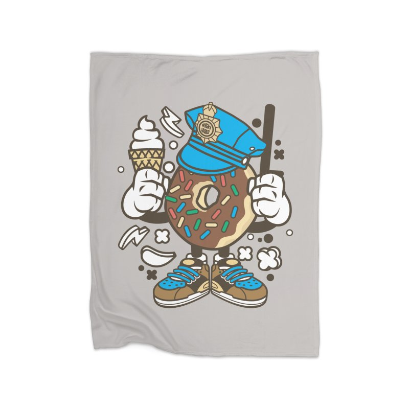 Donut Cop Home Fleece Blanket Blanket by WackyToonz