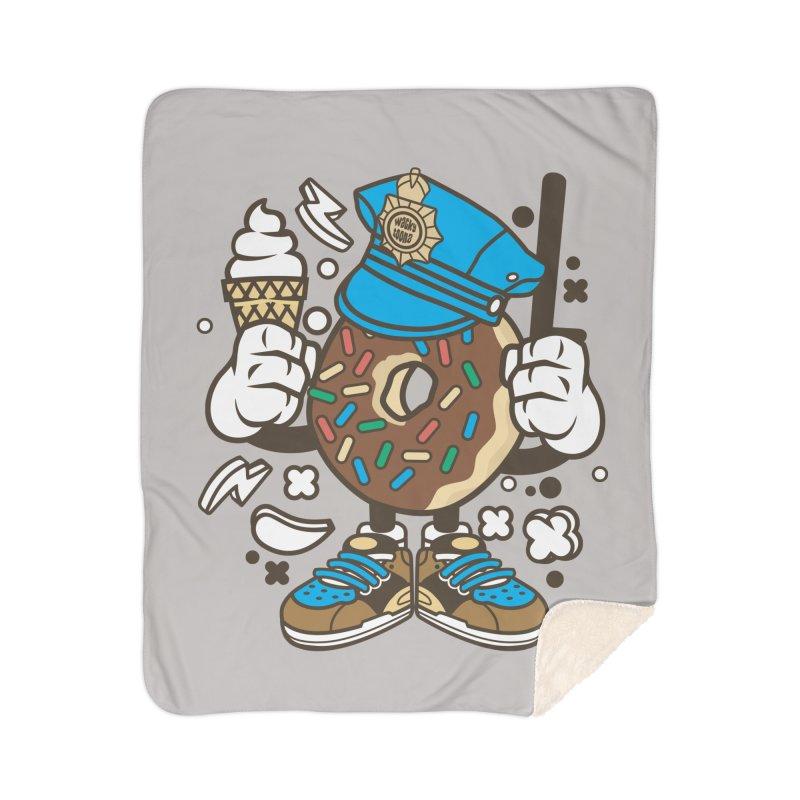 Donut Cop Home Sherpa Blanket Blanket by WackyToonz