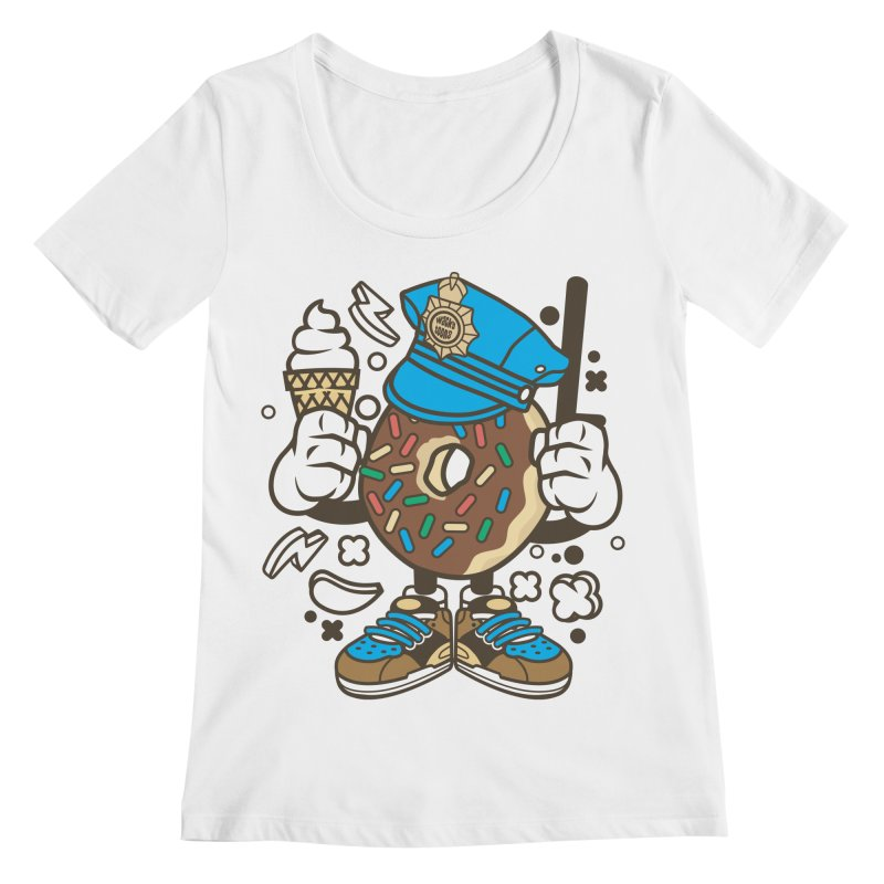 Donut Cop Women's Regular Scoop Neck by WackyToonz