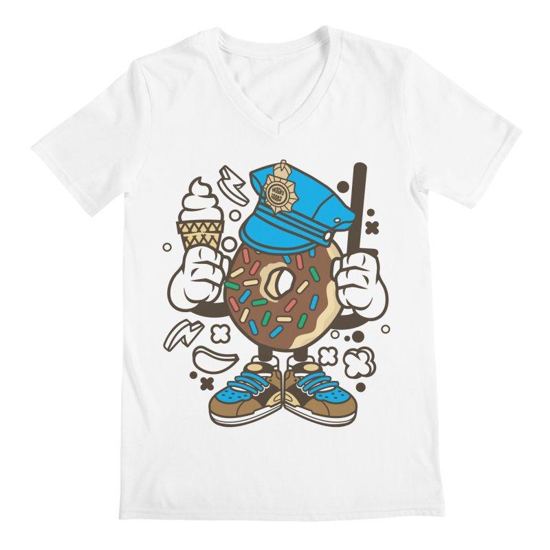 Donut Cop Men's V-Neck by WackyToonz