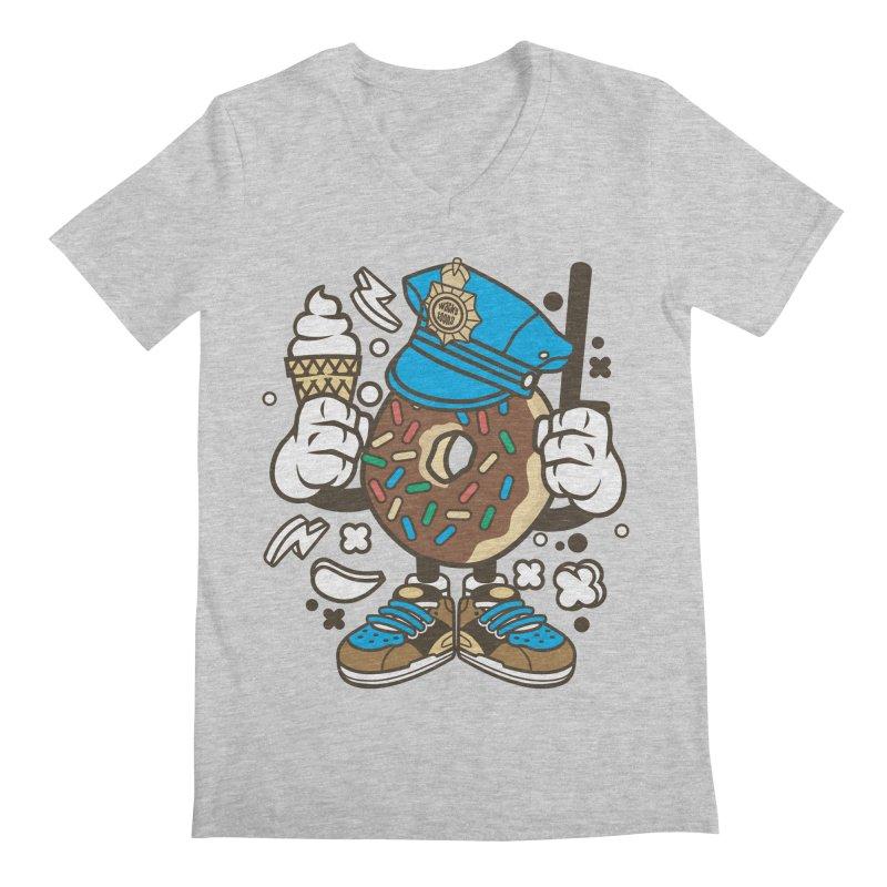 Donut Cop Men's Regular V-Neck by WackyToonz