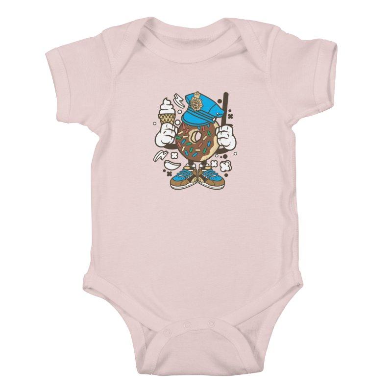 Donut Cop Kids Baby Bodysuit by WackyToonz