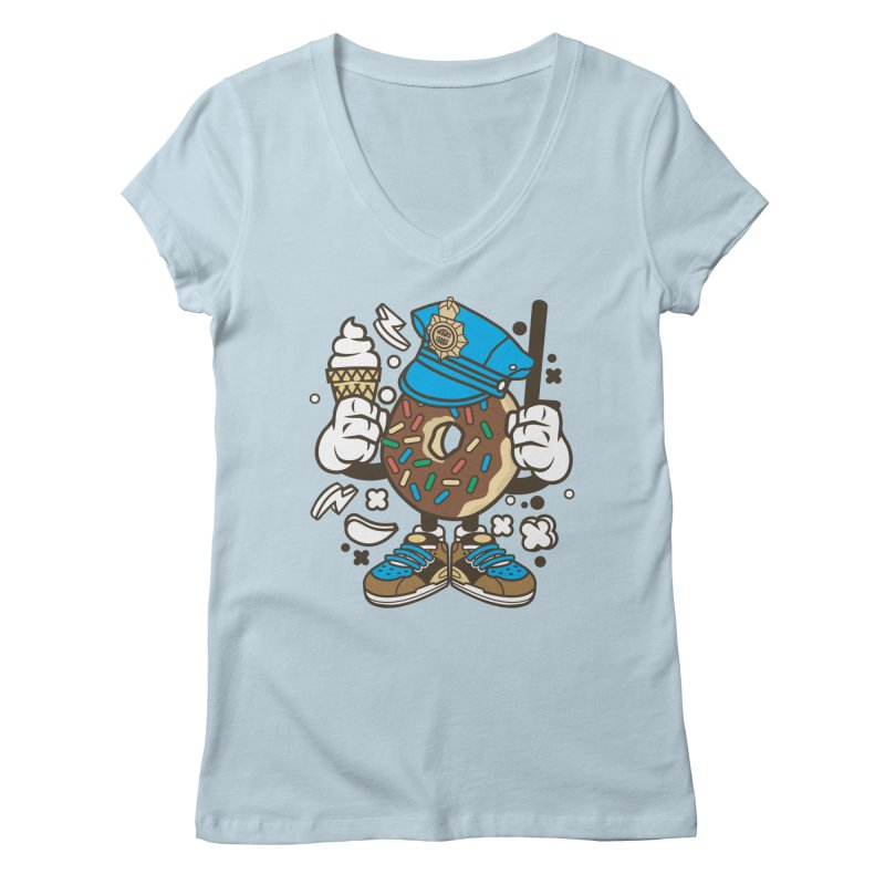 Donut Cop Women's V-Neck by WackyToonz