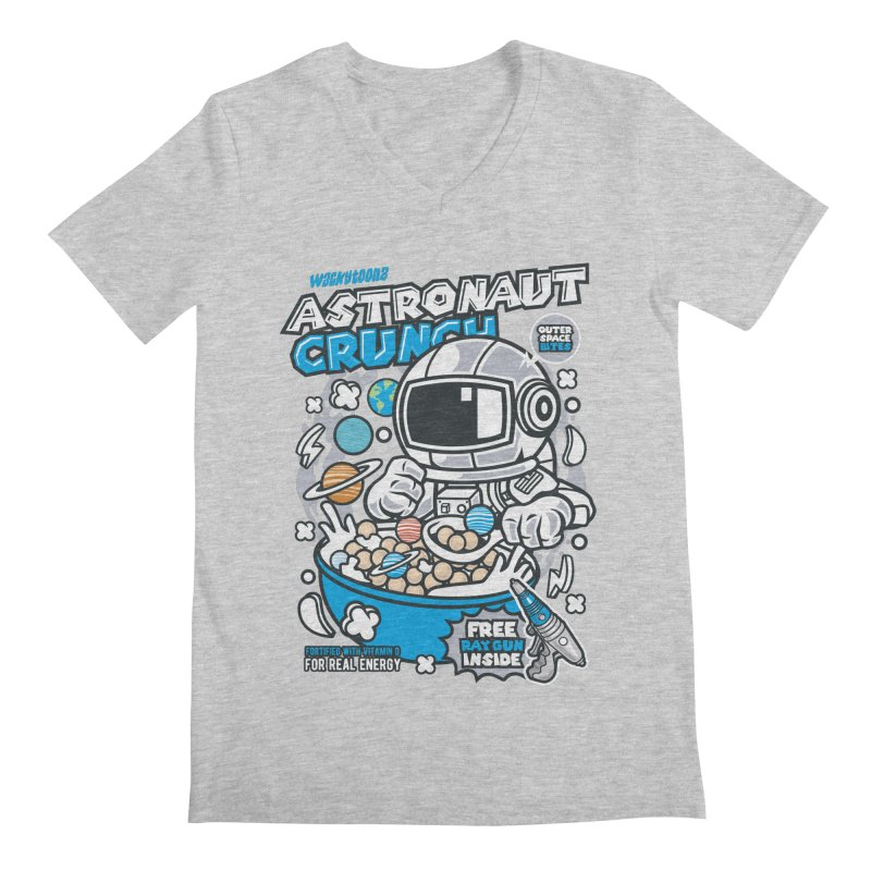 Astronaut Crunch Cereal Men's Regular V-Neck by WackyToonz