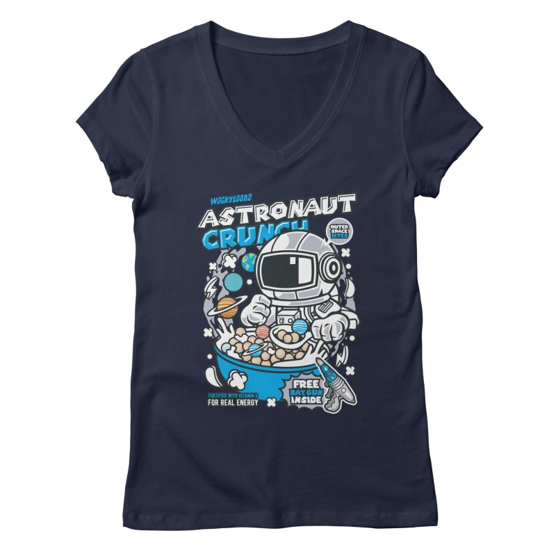 Astronaut Crunch Cereal Women's Regular V-Neck by WackyToonz