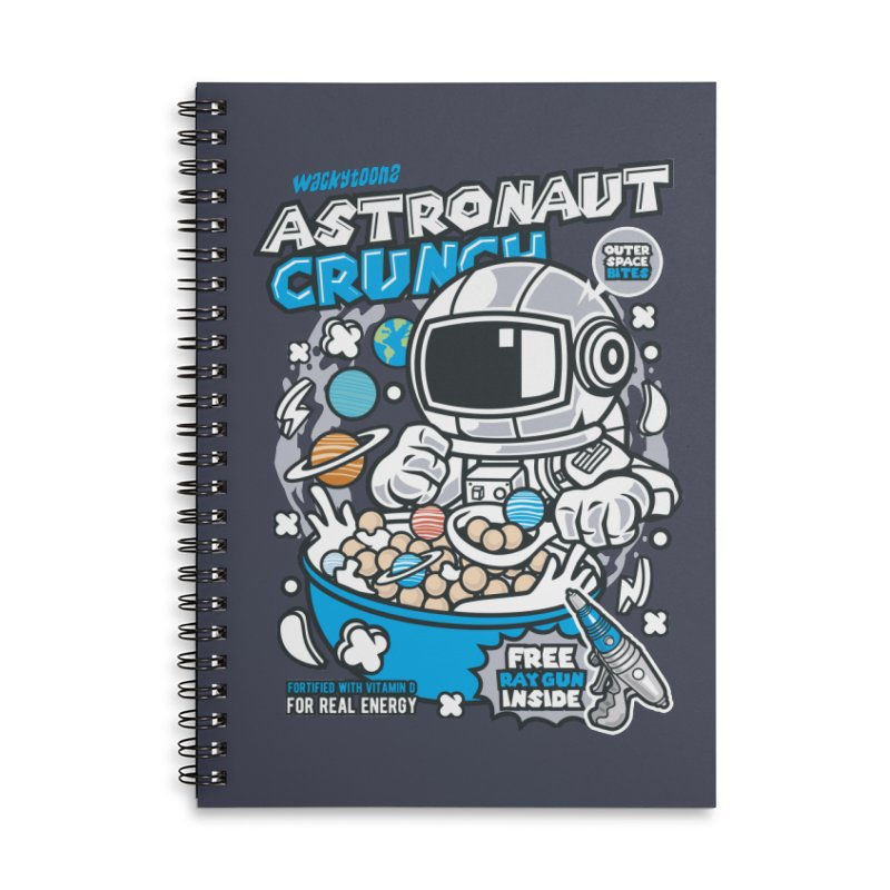 Astronaut Crunch Cereal Accessories Lined Spiral Notebook by WackyToonz