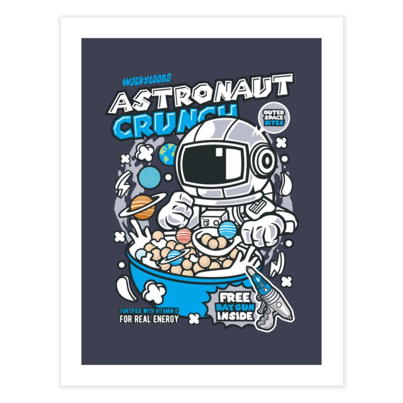 Astronaut Crunch Cereal Home Fine Art Print by WackyToonz
