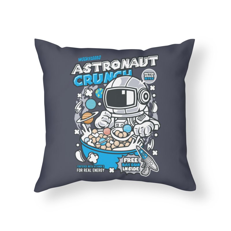Astronaut Crunch Cereal Home Throw Pillow by WackyToonz