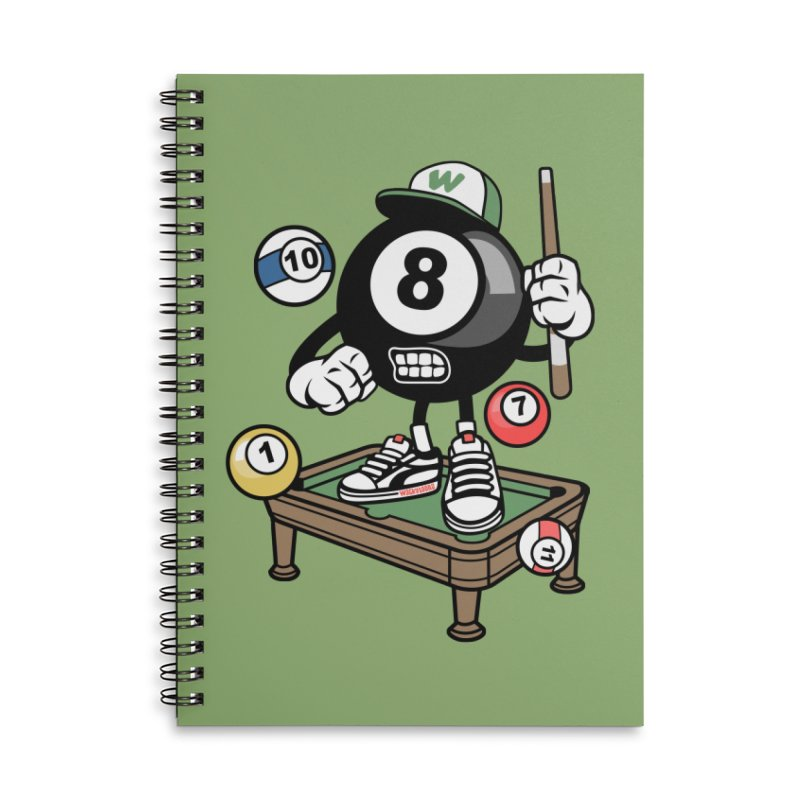 Pool Hall Hustle Accessories Lined Spiral Notebook by WackyToonz