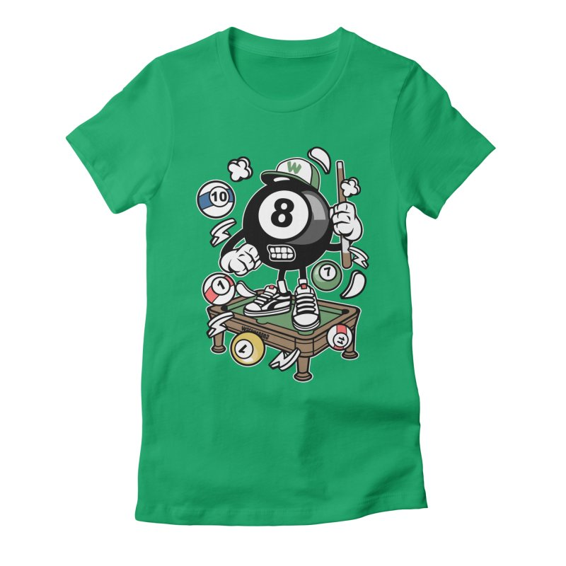 Pool Hall Hustle Women's Fitted T-Shirt by WackyToonz