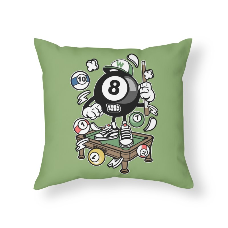 Pool Hall Hustle Home Throw Pillow by WackyToonz