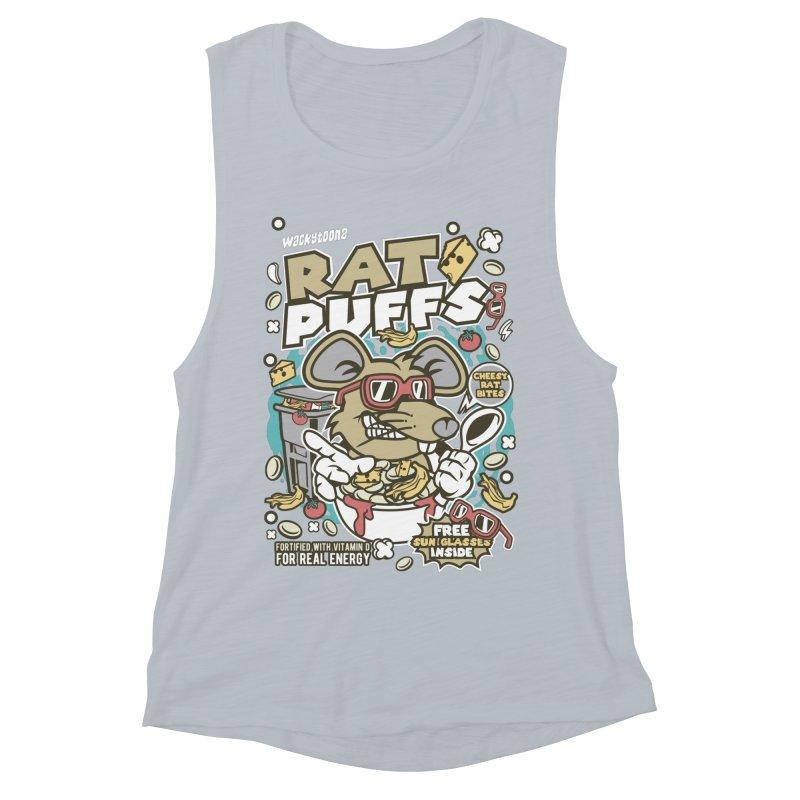 Rat Puffs Cereal Women's Muscle Tank by WackyToonz