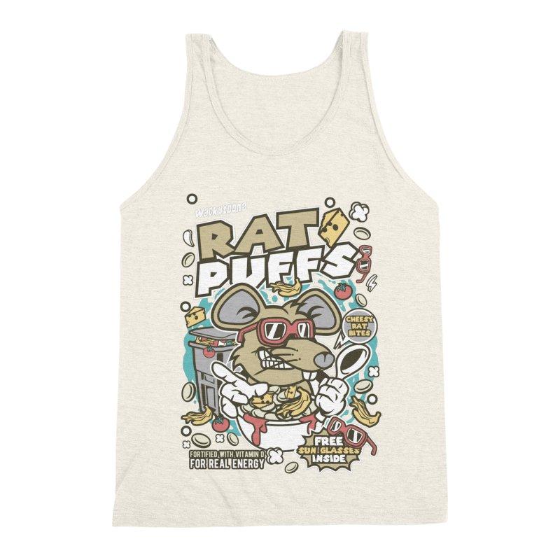 Rat Puffs Cereal Men's Triblend Tank by WackyToonz