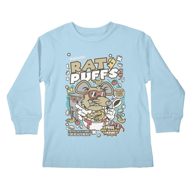Rat Puffs Cereal Kids Longsleeve T-Shirt by WackyToonz