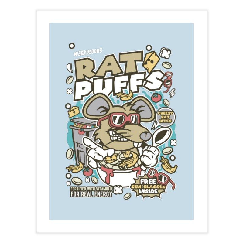 Rat Puffs Cereal Home Fine Art Print by WackyToonz
