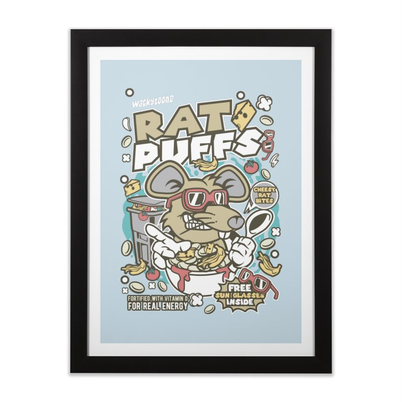Rat Puffs Cereal Home Framed Fine Art Print by WackyToonz