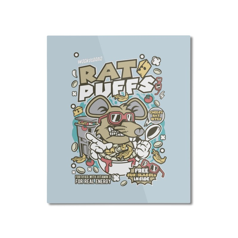 Rat Puffs Cereal Home Mounted Aluminum Print by WackyToonz