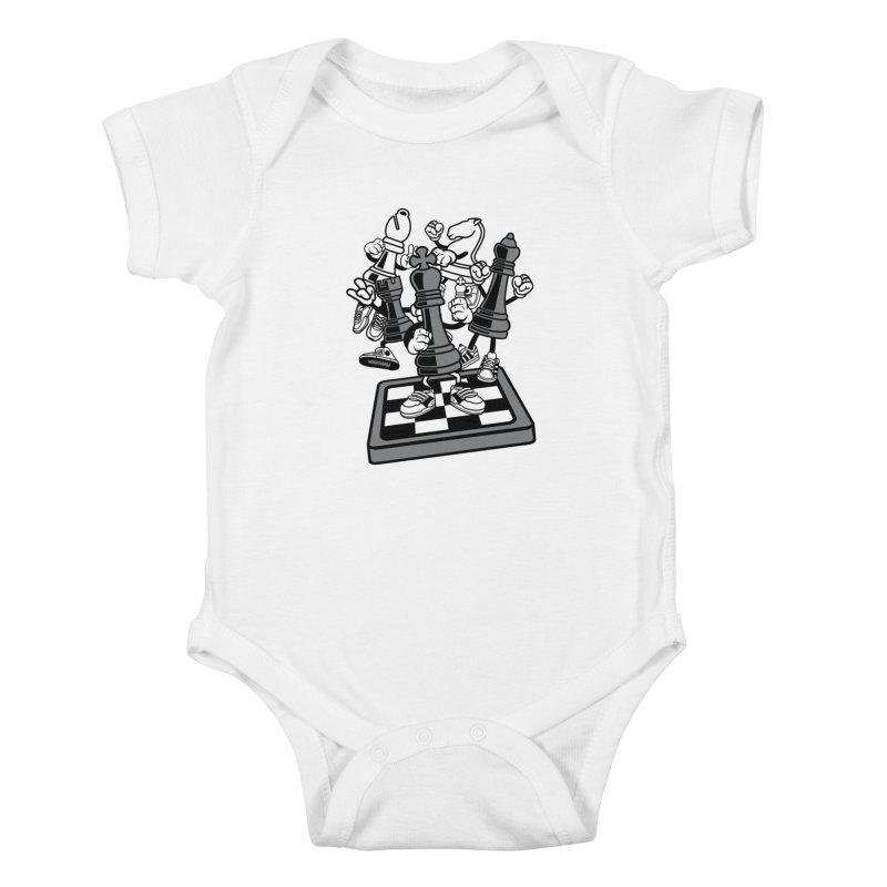 Game Of Chess Kids Baby Bodysuit by WackyToonz