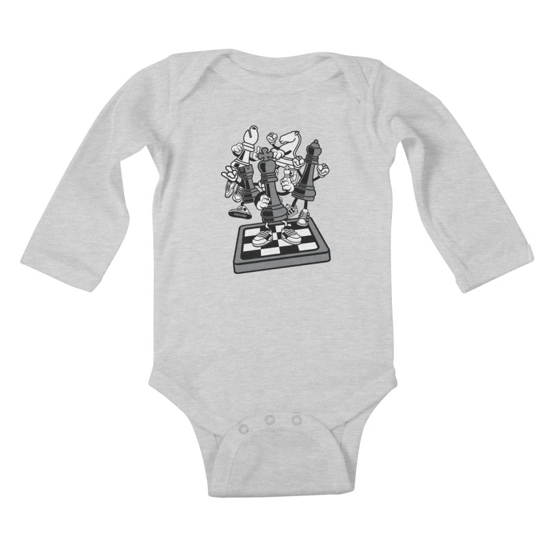 Game Of Chess Kids Baby Longsleeve Bodysuit by WackyToonz
