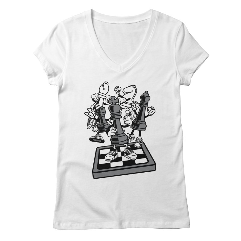 Game Of Chess Women's V-Neck by WackyToonz