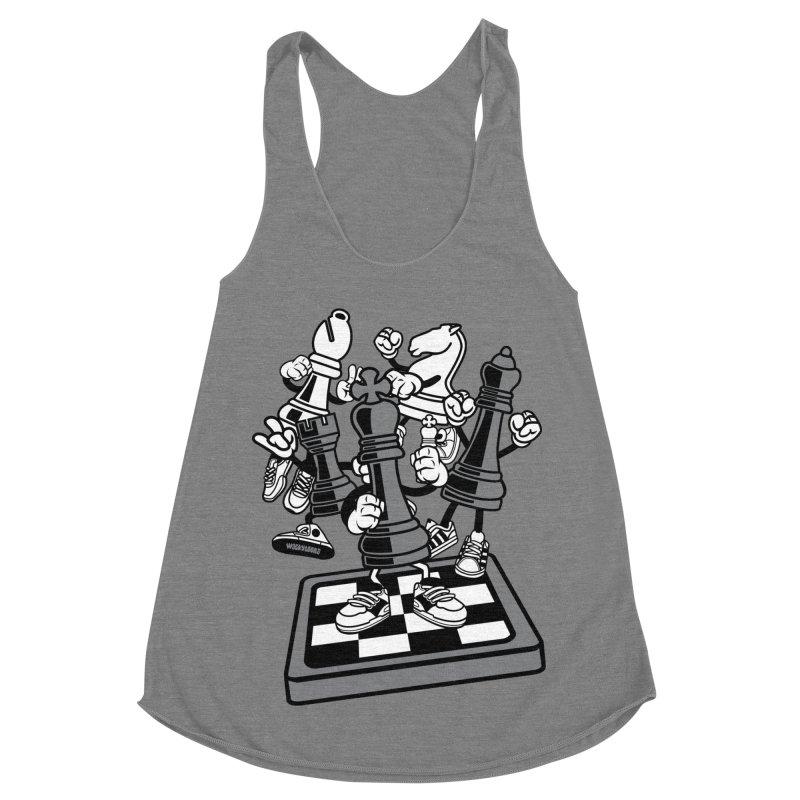 Game Of Chess Women's Racerback Triblend Tank by WackyToonz