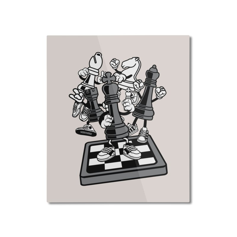 Game Of Chess Home Mounted Aluminum Print by WackyToonz